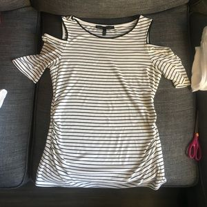 WHBM Cold Shoulder Striped Top